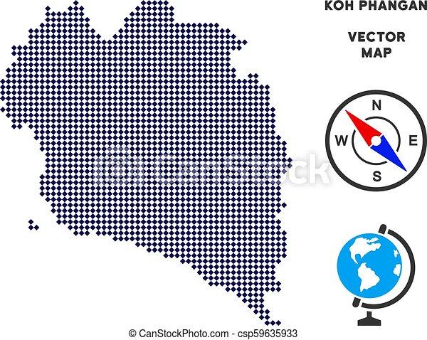 Koh Phangan Thailand Map.Pixelated Koh Phangan Thai Island Map Dot Koh Phangan Thai Island