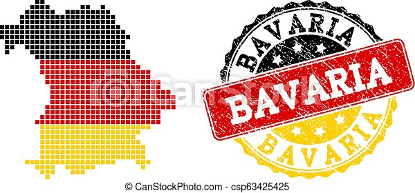 Pixelated Map of Bavaria State Colored in German Flag Colors and Grunge Stamp Seal - csp63425425