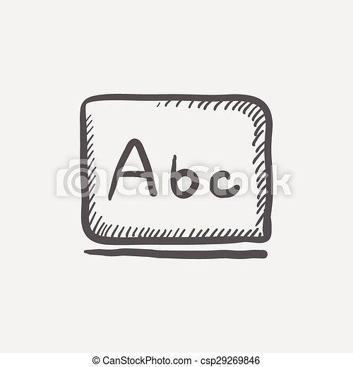 Cartas de abc en el icono de bocetos de la pizarra - csp29269846