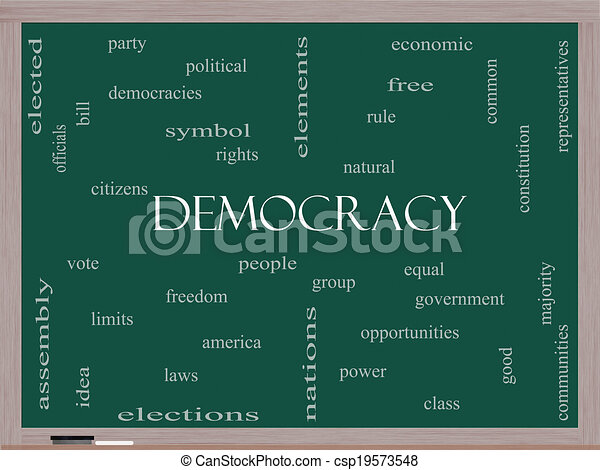 pizarra, concepto, palabra, nube, democracia - csp19573548