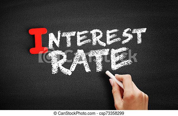 pizarra, interés, texto, tasa - csp73358299