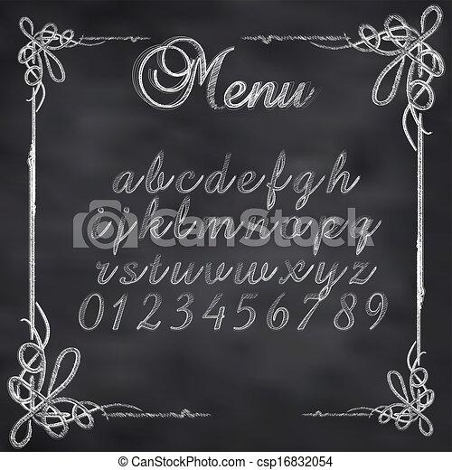 Ilustración vectorial abstracta de un texto menú de tiza en la pizarra - csp16832054