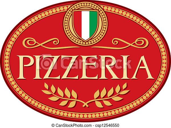 pizzéria, tervezés, címke - csp12546550