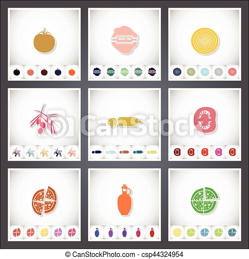 Pizza. A set of flat stickers with shadow on white background - csp44324954