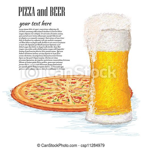 pizza-and-beer - csp11284979