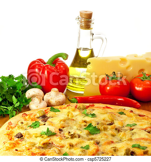 Pizza and ingredients with focus on pizza - csp5725227