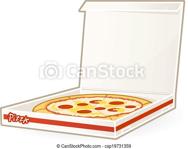 pizza box pizza in the box vector illustration rh canstockphoto com Pizza Box Open open pizza box clipart