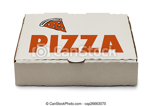 sc 1 st  Can Stock Photo & Pizza box with logo and slice of pizza isolated on white background.