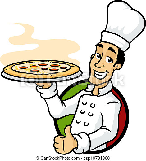pizza chef italian chef holding pizza plate vector cartoon clip rh canstockphoto com