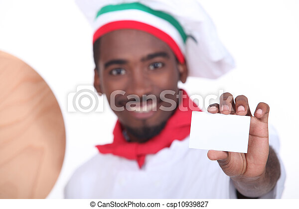 pizza chef holding a business card - csp10939827