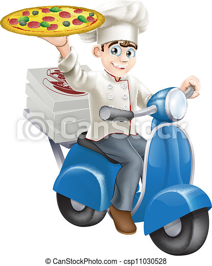 Pizza chef moped delivery - csp11030528
