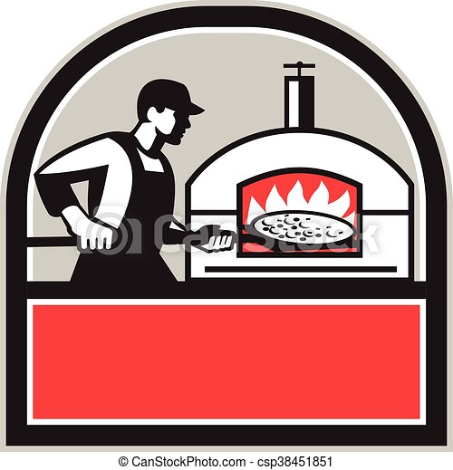 Pizza Cook Peel Wood Fired Oven Crest Retro Illustration Of A Baker Rh Canstockphoto Com Simple Burning Designs Clpart