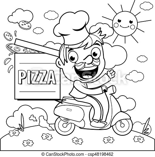 Pizza Delivery Chef In Scooter Coloring Page