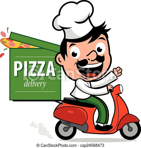 Pizza delivery chef in scooter - csp24568473