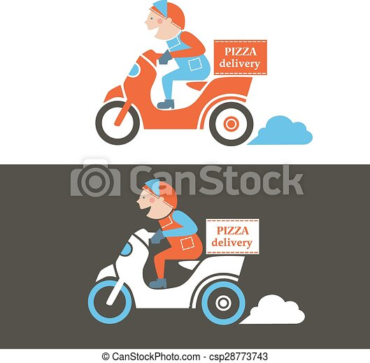 pizza delivery guy on a scooter isolated vector illustration