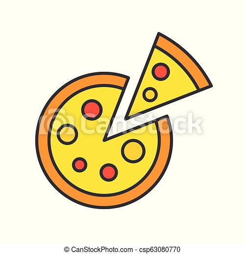 pizza, food and gastronomy set, filled outline icon - csp63080770