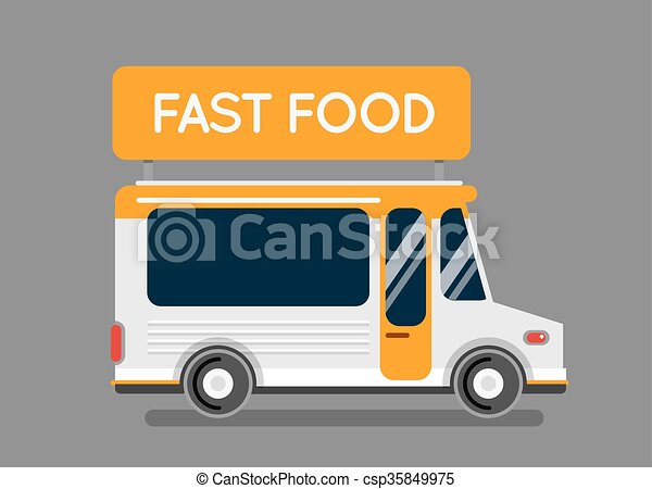 Pizza food truck city car. Food truck, auto cafe, mobile kitchen, hot fast food, Italian pizza. Design elements. Isolated on white. Street food car. Food truck Street food van. - csp35849975