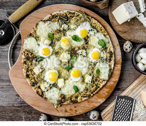 pizza, four cheeses with pesto - csp53636702
