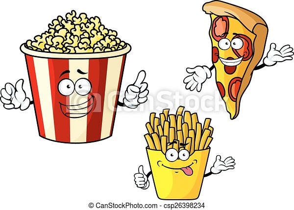 Pizza, french fries, popcorn cartoon characters - csp26398234