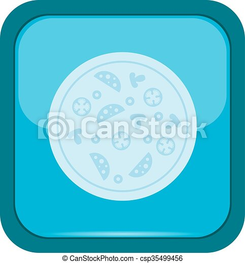 Pizza icon on a blue button - csp35499456