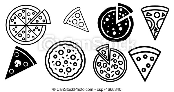 Pizza icon Vector illustration on the white background - csp74668340
