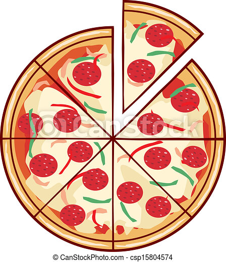 pizza illustration with a slice - csp15804574