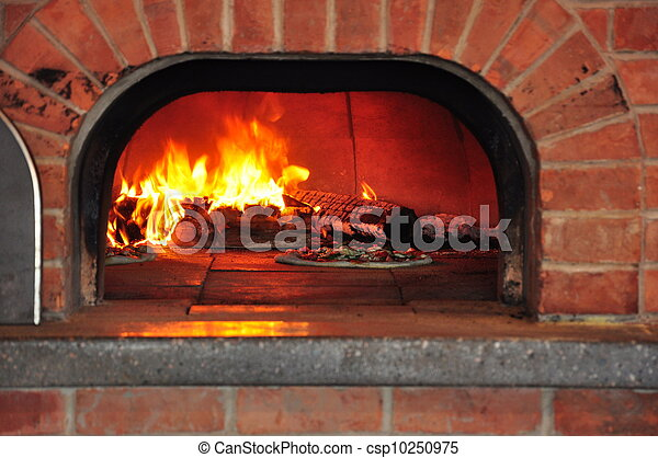 Pizza in a fire oven - csp10250975