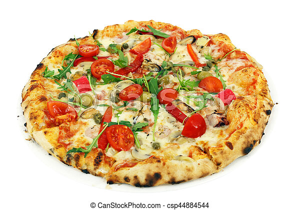 pizza isolated on white background - csp44884544
