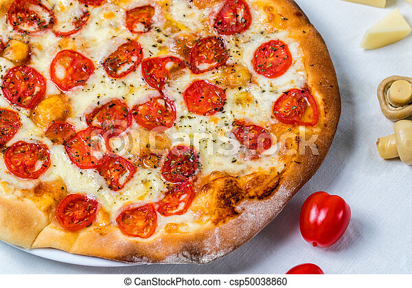 Pizza Margarita Cheese And Tomato On Background White Cloth
