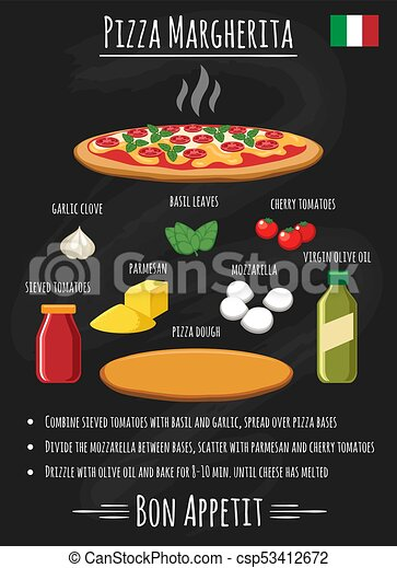 Pizza margherita on chalkboard recipe poster - csp53412672
