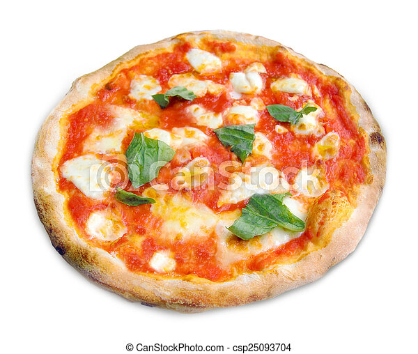 Pizza Margherita on white background - csp25093704