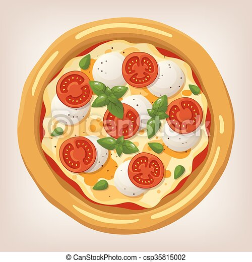 Pizza Margherita Vector Illustration