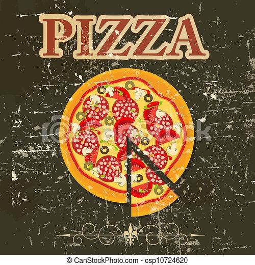 Pizza vintage. Retro design template vector