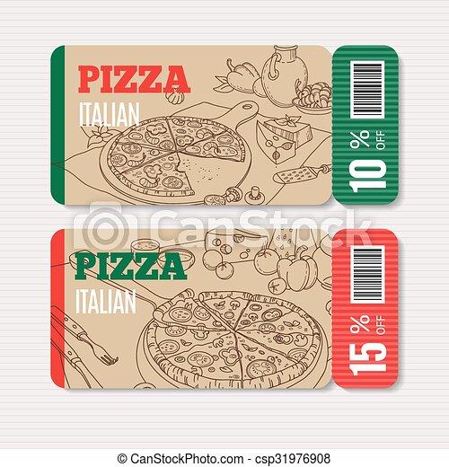 pizza menu template vector cardboard coupon set modern vector clipart search illustration. Black Bedroom Furniture Sets. Home Design Ideas