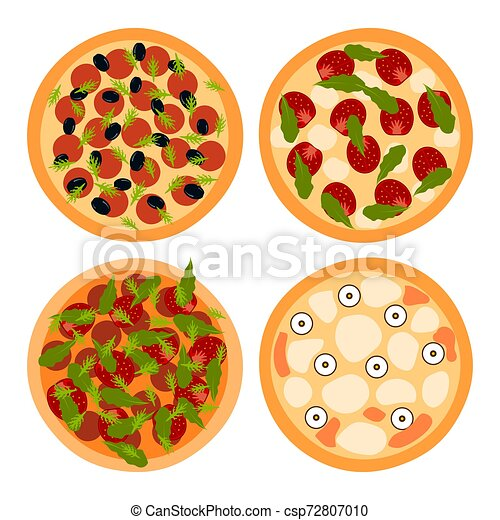 Pizza on a white background. Vector illustration - csp72807010