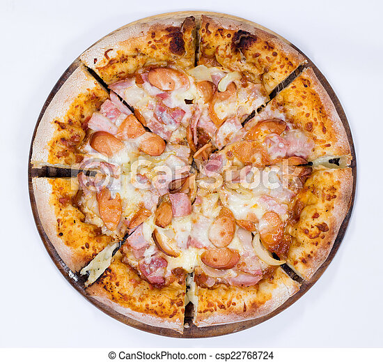 Pizza on white background, Top view - csp22768724
