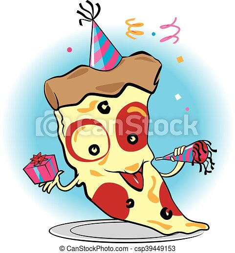 pizza party a cartoon slice of pizza celebrating clipart vector rh canstockphoto com pizza party clipart free pizza party clipart free