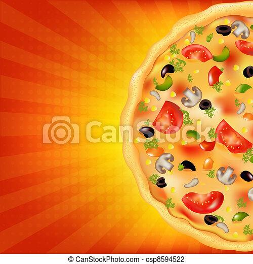 Pizza Poster With Sunburst - csp8594522