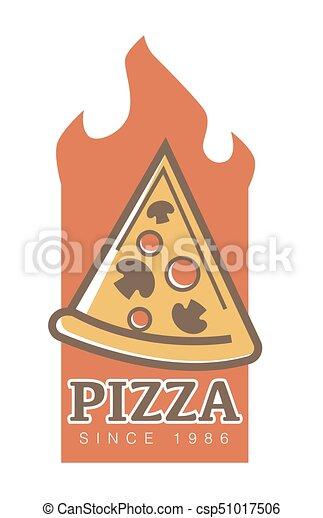 Pizza Restaurant Since 1986 Emblem With Slice Full Of Mushrooms