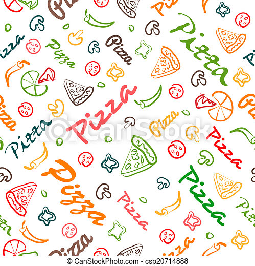 pizza seamless pattern with hand drawn elements - csp20714888