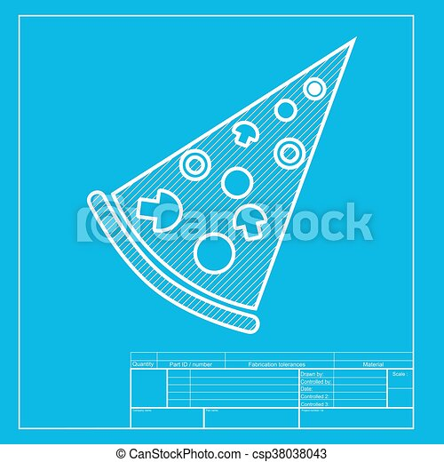 pizza simple sign white section of icon on blueprint template