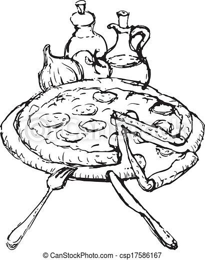 pizza sketch - csp17586167