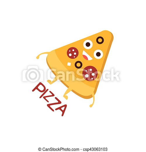 Pizza Slice Word And Corresponding Illustration Cartoon Character