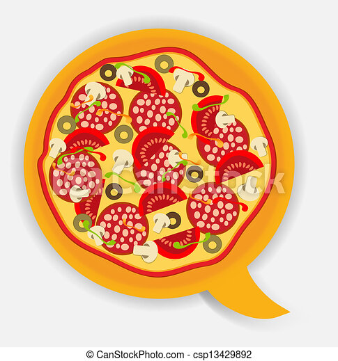 Pizza speech bubble. vector illustration - csp13429892