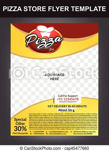 Pizza Store Flyer Template Design Clip Art Vector Search Drawings