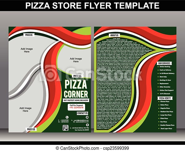 Pizza Store Flyer Template Vector Illustration Eps Vectors Search
