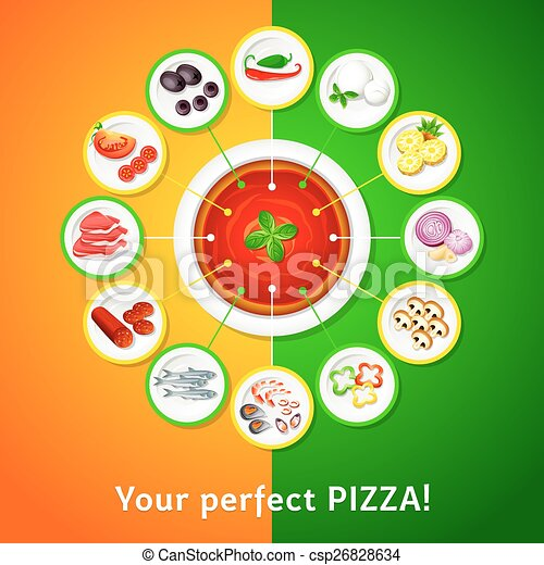 pizza toppings colorful toppings for perfect pizza choice vectors rh canstockphoto com pizza toppings clipart black and white pizza toppings clipart black and white