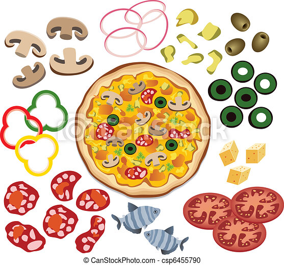 pizza, vecteur, conception, ton, ingrédients - csp6455790
