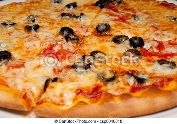 Pizza with black olives and melted cheese, close-up - csp8040018