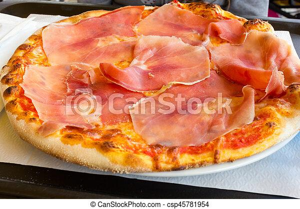 Pizza with ham - csp45781954